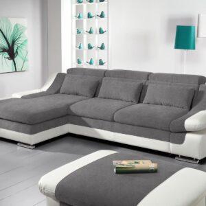 Canapé convertible ADAMOB avec méridienne gauche tissu et éco-cuir pierre gris/blanc