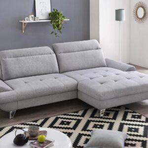 Canapé convertible ROMANIA avec méridienne droite tissu gris clair