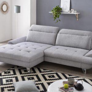 Canapé convertible ROMANIA avec méridienne gauche tissu gris clair