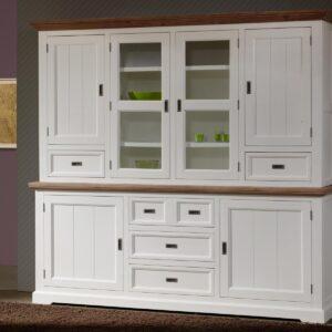 Vaisselier CASABLANCA 6 portes et 5 tiroirs havanna/blanc