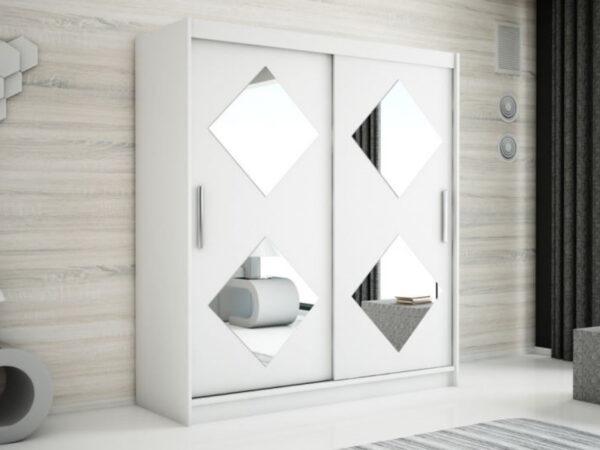 Armoire CARROU 2 portes coulissantes 180 cm blanc
