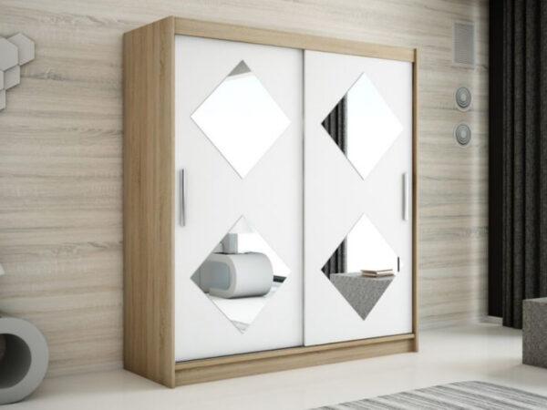 Armoire CARROU 2 portes coulissantes 180 cm sonoma/blanc