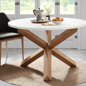 Table repas ronde LOTTY 135 cm blanc/brun naturel