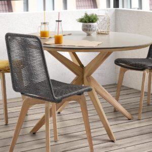 Table repas JULIO 120 cm gris/brun naturel