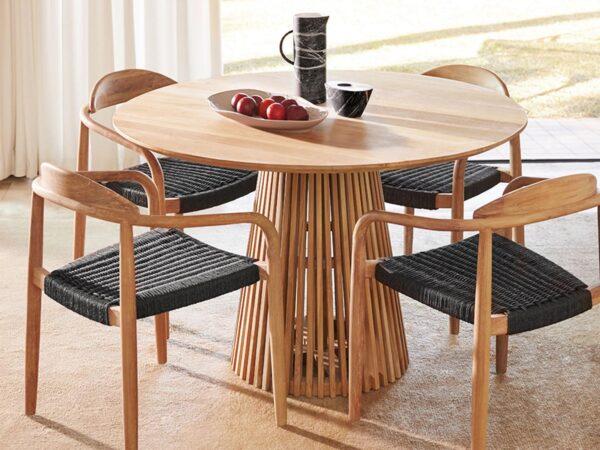 Table repas ronde JEAN 120 cm brun naturel