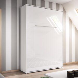 Lit mural escamotable CONCEPTION 120x200 cm blanc/blanc brillant (vertical)
