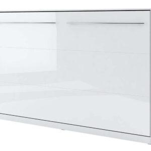 Lit mural escamotable CONCEPTION 120x200 cm blanc/blanc brillant (horizontal)