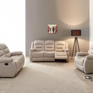 Ensemble canapé relax manuel DERBY 1+2+3 places tissu beige