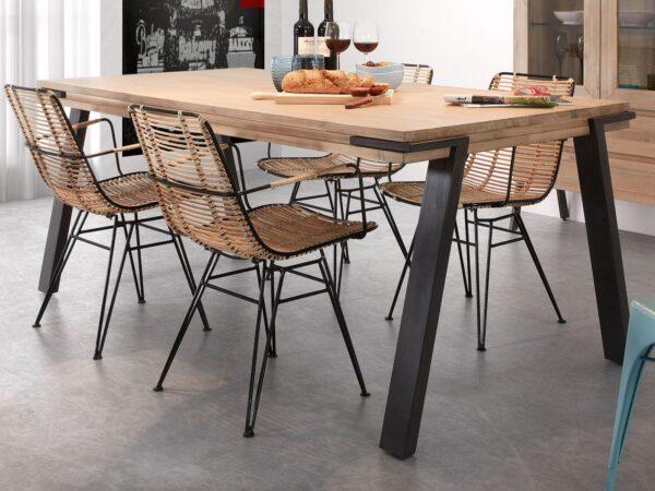 Table repas rectangulaire TINNA 200 cm acacia naturel/noir