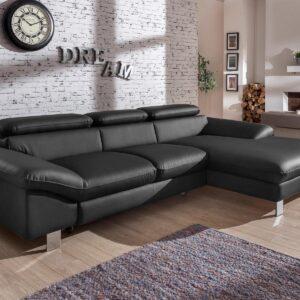 Canapé convertible DODGE avec méridienne droite éco-cuir noir