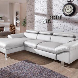 Canapé convertible DODGE avec méridienne gauche éco-cuir blanc