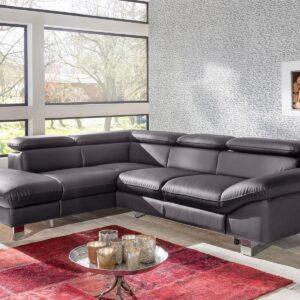 Canapé convertible DODGE d'angle avec méridienne gauche éco-cuir noir
