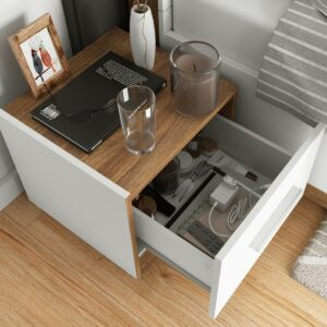 Chevet DENIZE 1 tiroir gauche blanc/chêne stirling