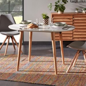 Table repas extensible UNNIQO ovale 120 > 200 cm blanc/brun naturel