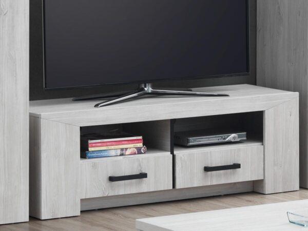 Meuble TV-hifi ELVITA 2 niches 2 tiroirs chêne blanchi