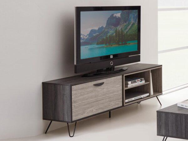 Meuble tv-hifi ECLAT 1 porte abattante chêne cendré/chêne grisé