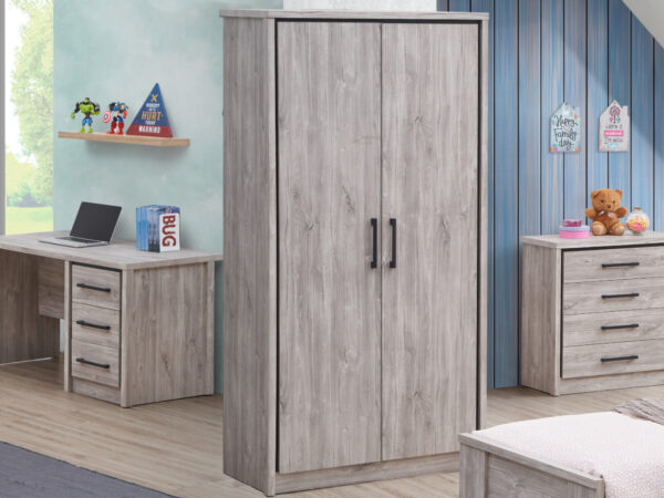 Armoire ELZA 2 portes chêne gris