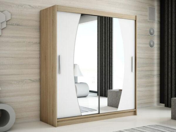 Armoire ELYCOPTER 2 portes coulissantes 200 cm sonoma/blanc