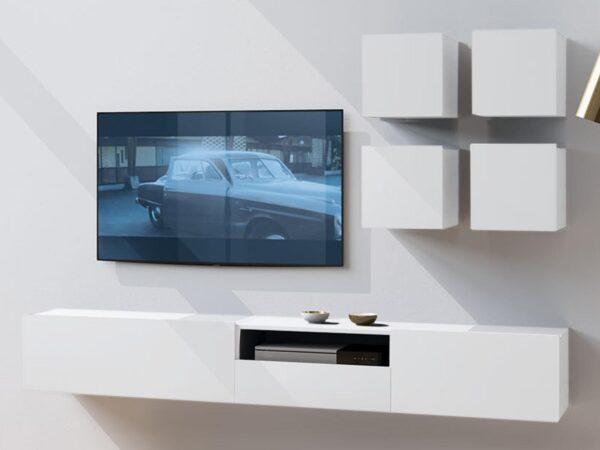 Mur tv-hifi ENJOLY 6 portes 1 tiroir blanc