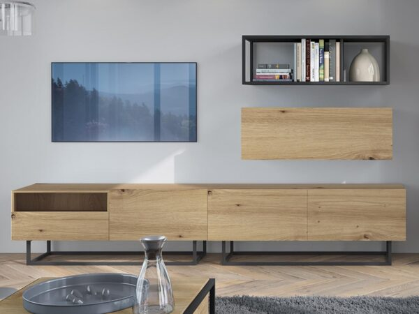 Mur tv-hifi ENJOLY 4 portes 1 tiroir chêne artisan