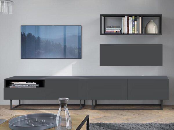 Mur tv-hifi ENJOLY 4 portes 1 tiroir graphite