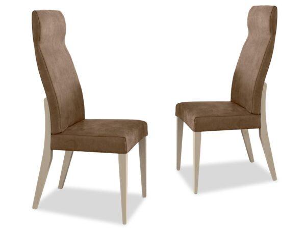 Lot de 2 chaises EVEREST ivoire laqué/noyer