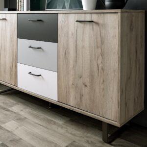 Buffet-bahut ORLEANS 2 portes 3 tiroirs chêne craft gris/mix