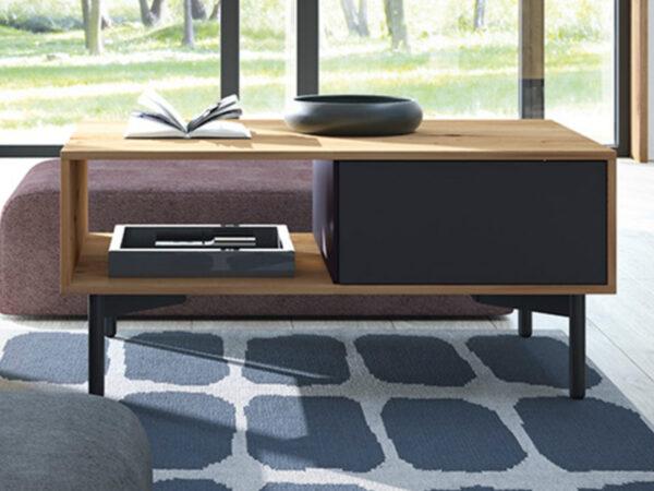 Table basse FLOWER 1 porte 1 niche chêne artisan/noir