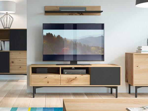 Meuble tv-hifi FLOWER 2 tiroirs 1 porte chêne artisan/noir