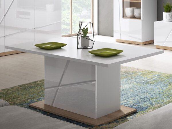 Table basse rectangulaire FUTURO blanc mat/blanc laqué