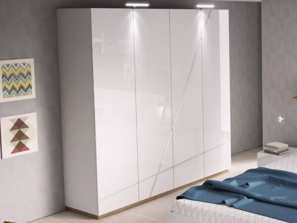 Armoire FUTURO 4 portes blanc mat/blanc laqué avec led