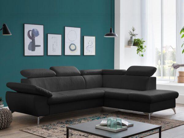 Canapé d'angle convertible GISSO avec méridienne gauche éco-cuir noir