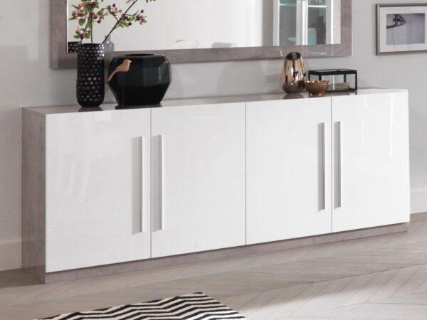 Buffet/bahut GRENADE 4 portes marbre laqué/blanc laqué