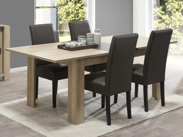 Table repas allongeable HERMIONE 170 > 220 cm chêne printemps/gris rocher