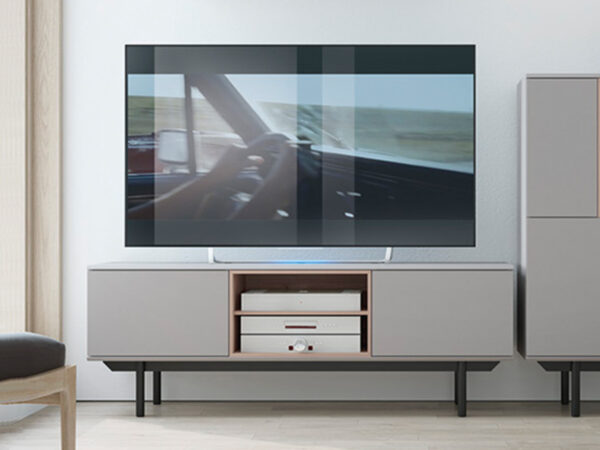Meuble tv-hifi INOXO 2 portes 2 niches gris clair/chêne jackson