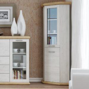Armoire d'angle KORFA 2 portes blanc/brun doré