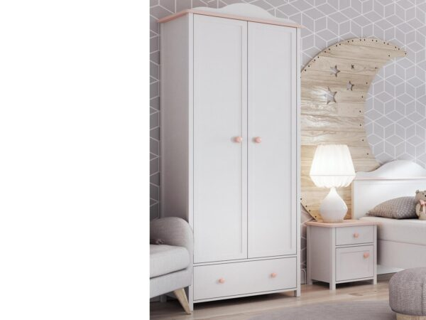 Armoire LUCIA 2 portes 1 tiroir blanc/rose