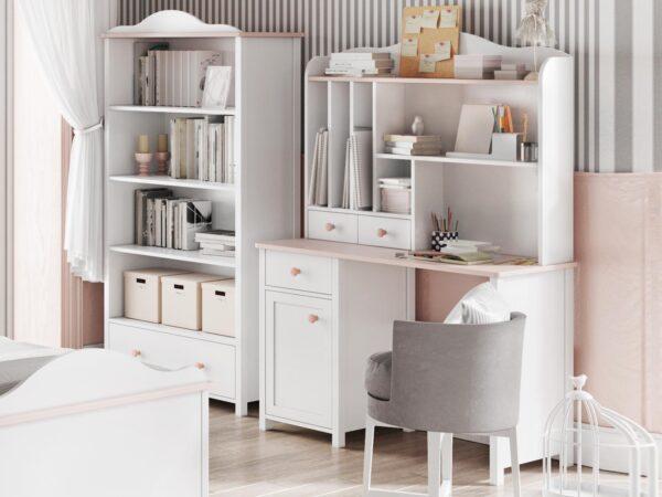 Bureau LUCIA 1 porte 3 tiroirs blanc/rose