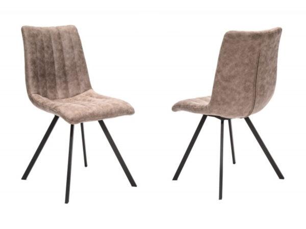 Lot de 4 chaises LODU en tissu beige