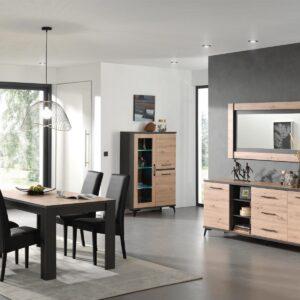 Salle à manger complète LODU 160 cm carbon/bois marin