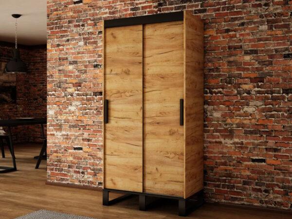 Armoire LOFTING 2 portes coulissantes 120 cm sonoma sans miroir