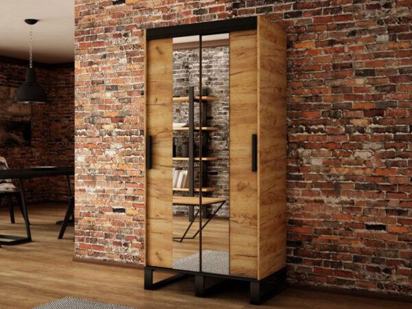 Armoire LOFTING 2 portes coulissantes 120 cm sonoma avec miroir