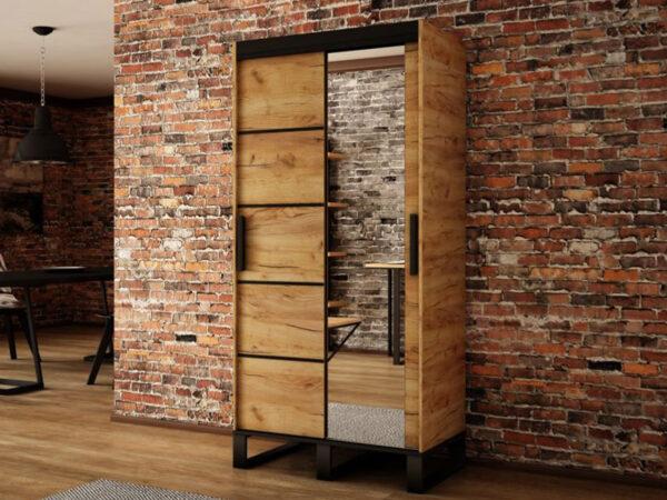 Armoire LOFTEUR 2 portes coulissantes 150 cm sonoma avec miroir