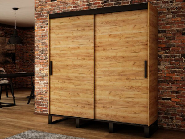 Armoire LOFTING 2 portes coulissantes 180 cm sonoma sans miroir