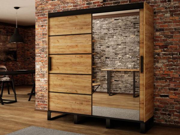 Armoire LOFTEUR 2 portes coulissantes 180 cm sonoma avec miroir