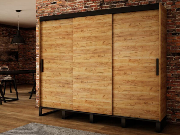 Armoire LOFTING 3 portes coulissantes 250 cm sonoma sans miroir