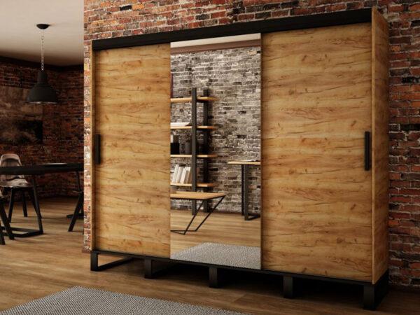 Armoire LOFTING 3 portes coulissantes 250 cm sonoma avec miroir
