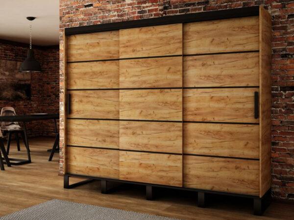 Armoire LOFTEUR 3 portes coulissantes 250 cm sonoma sans miroir