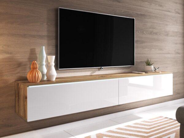 Meuble tv-hifi DUBAI 2 portes battantes 140 cm blanc laqué/chene wotan avec led