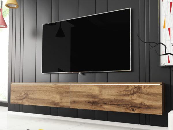 Meuble tv-hifi DUBAI 2 portes battantes 180 cm chêne wotan sans led